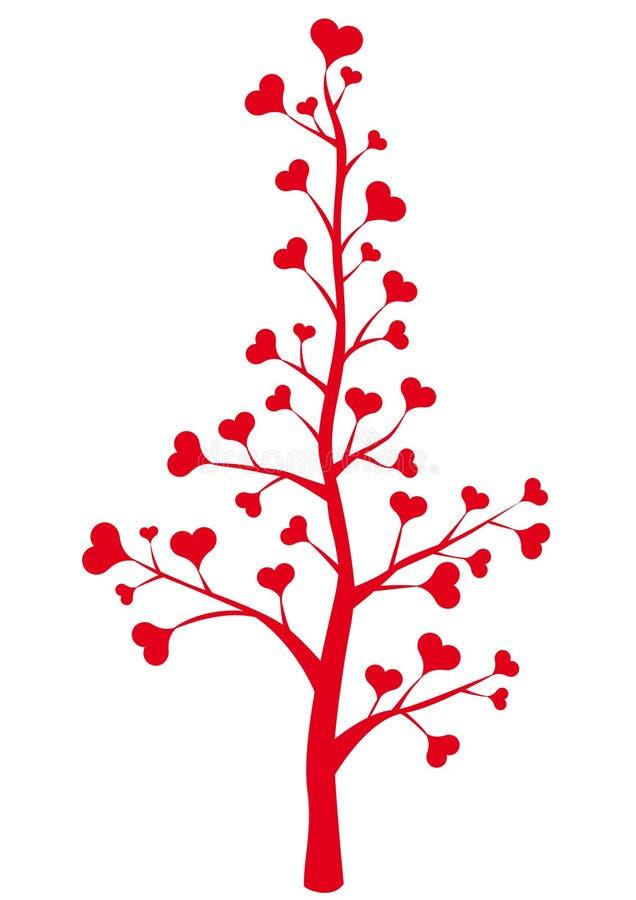 Heart tree. Heart flower, floral background vector illustration