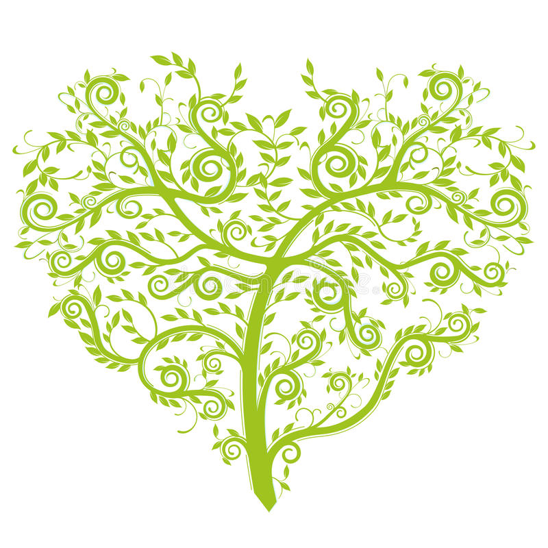 Heart tree. Green tree Illustration
