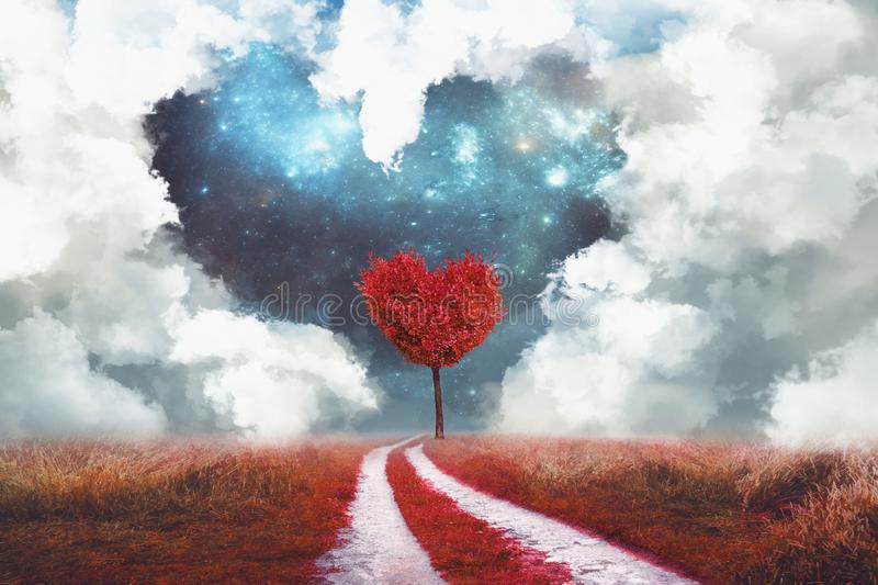 Heart tree and heart cloud stock image