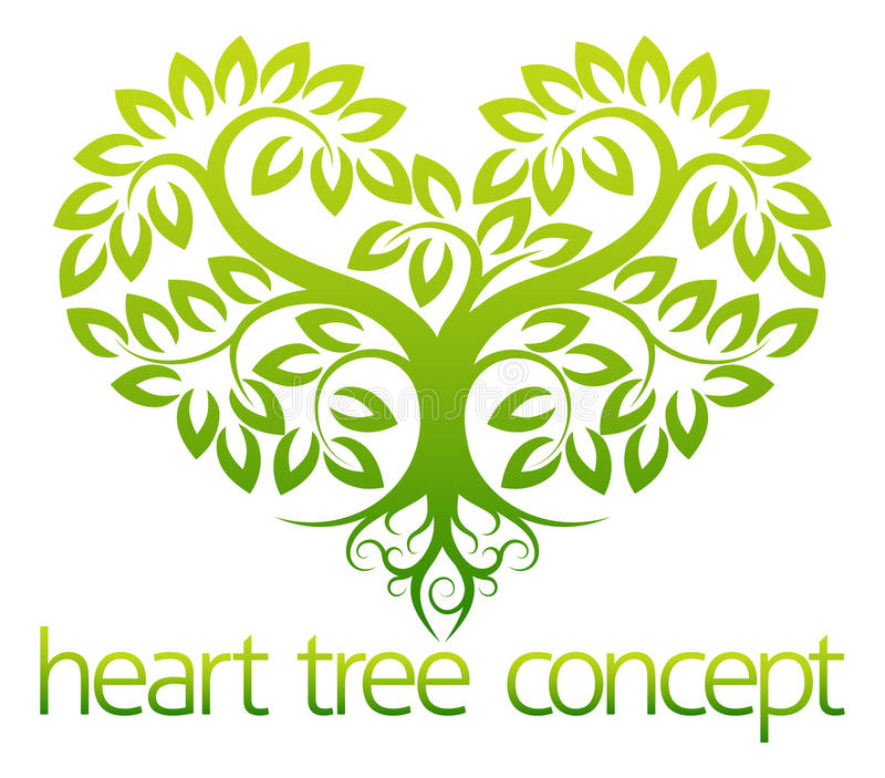 Heart tree concept. An abstract illustration of a tree growing in the shape of a heart concept design royalty free illustration