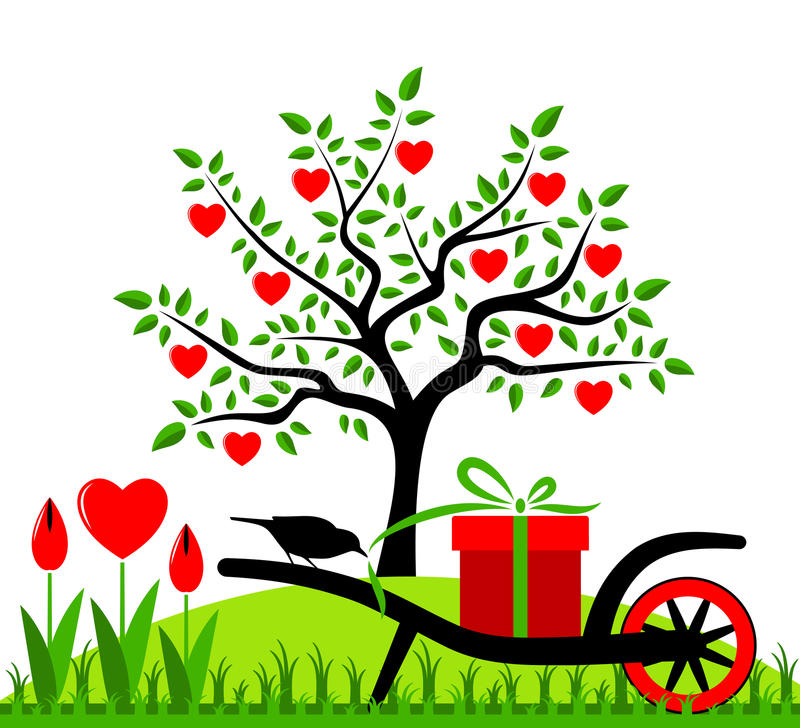 Heart tree. Wheel barrow with gift and heart flowers vector illustration