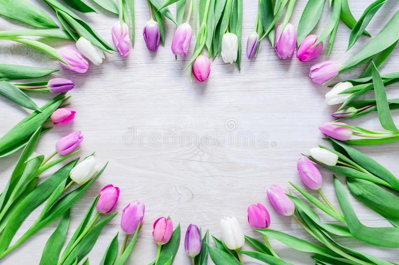 Heart from Tulips Flowers on rustic table for March 8, International Womens Day, Birthday , Valentines Day or Mothers day - Close royalty free stock images