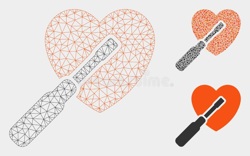 Heart Tuning Vector Mesh Carcass Model and Triangle Mosaic Icon. Mesh heart tuning model with triangle mosaic icon. Wire frame polygonal mesh of heart tuning royalty free illustration