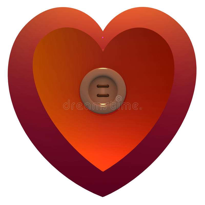 Heart. Two fastened hearts loving each other stock illustration