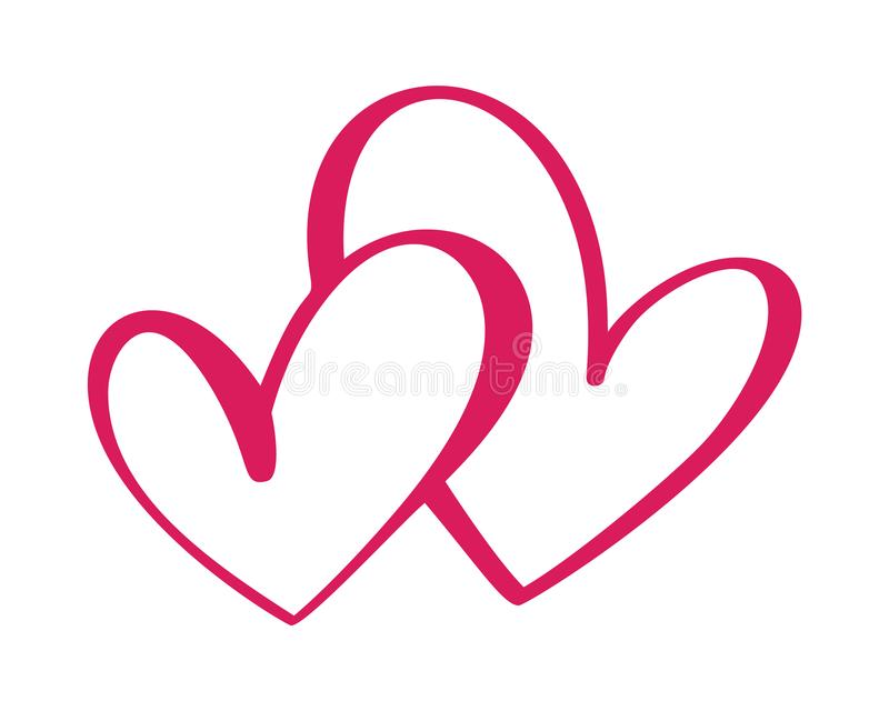 Heart two love sign. Icon on white background. Romantic symbol linked, join, passion and wedding. Template for t shirt. Card, poster. Design flat element of royalty free illustration