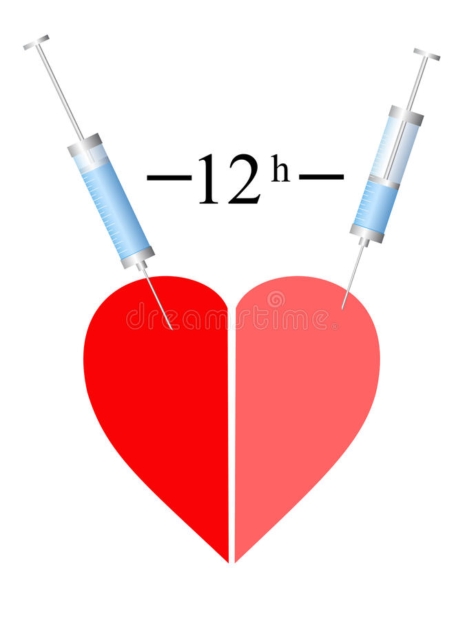 Download Heart, Two Syringe, Twelve Hour Stock Vector - Image: 18822077