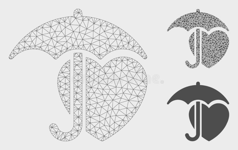 Heart Umbrella Protection Vector Mesh 2D Model and Triangle Mosaic Icon. Mesh heart umbrella protection model with triangle mosaic icon. Wire frame polygonal vector illustration