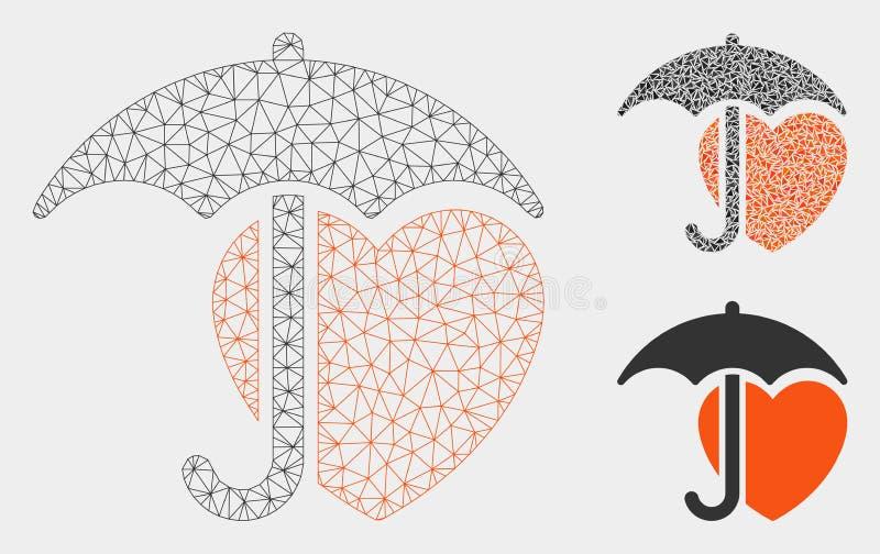 Heart Umbrella Protection Vector Mesh 2D Model and Triangle Mosaic Icon. Mesh heart umbrella protection model with triangle mosaic icon. Wire carcass polygonal vector illustration