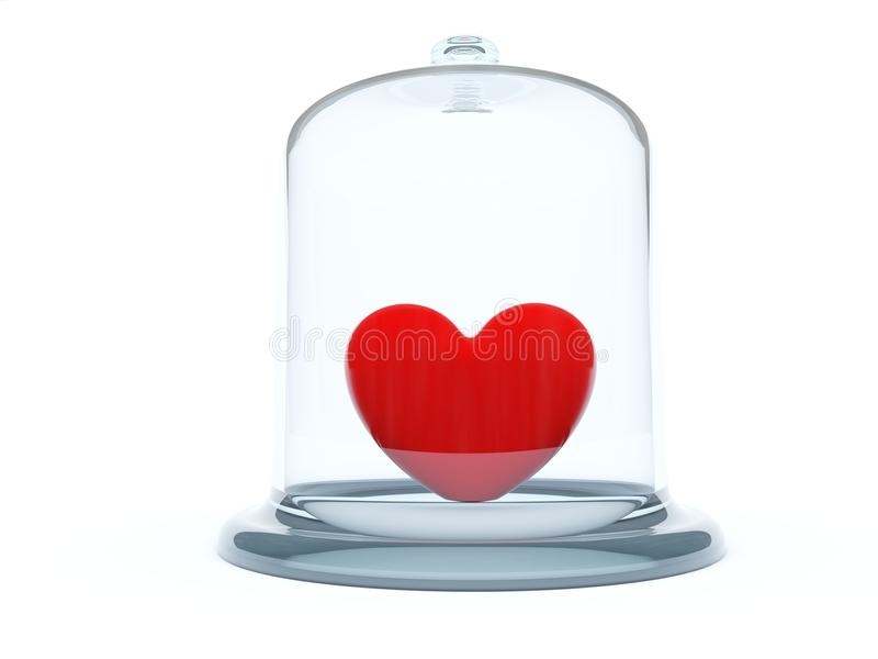 Heart Under Glass Bell Stock Images