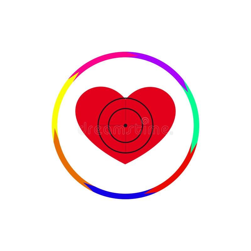 Heart under a sight. Vector illustration. The emblem, logo. Heart under a sight. Seven arrows along the contour. Different colors stock illustration