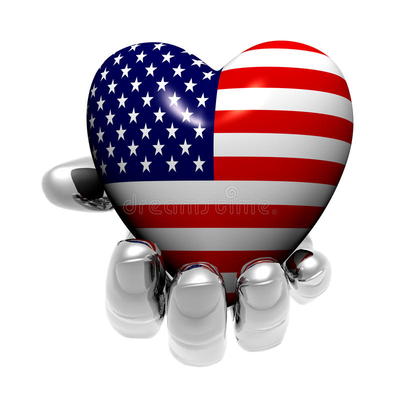 Heart with US flag texture isolated on a white royalty free illustration