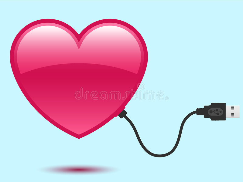 Heart with USB plug stock illustration