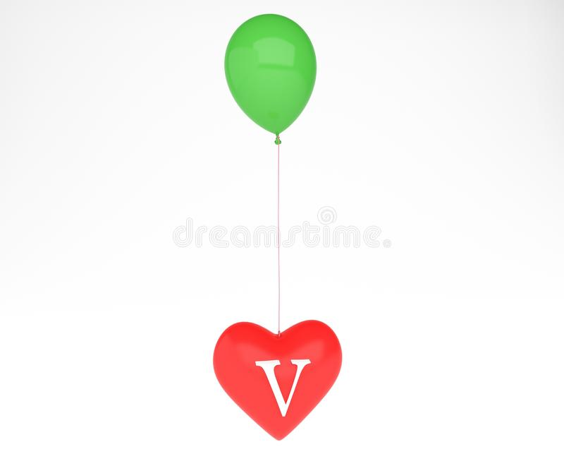 Heart with v letter. Heart with letter and ballon vector illustration