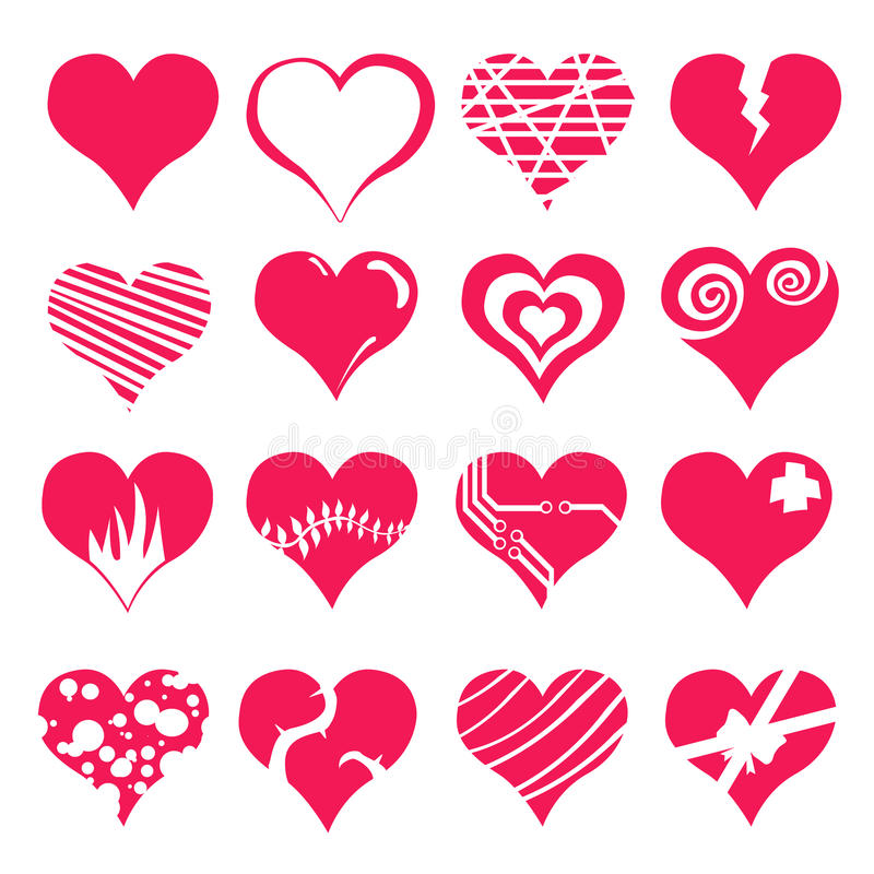 Heart Valentine Icon Set. Illustration stock illustration