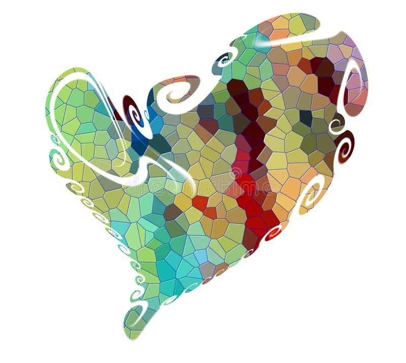 Heart. Valentine love design in vivid hues on white background royalty free illustration