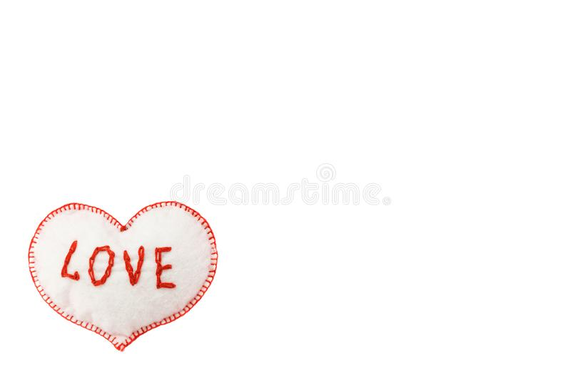 Heart for Valentine`s day on white isolated background stock images