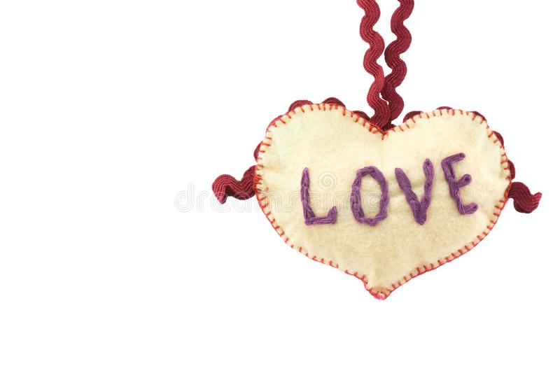 Heart for Valentine`s day on white isolated background stock image