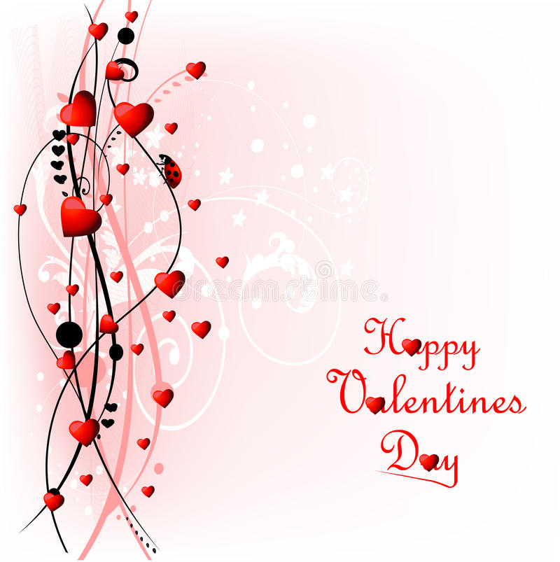Download Heart Valentines Day Background With Ladybug Stock Vector - Image: 16353995