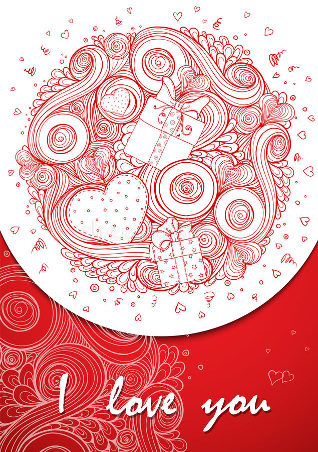 Heart Valentines day card with doodles on ornate stock illustration