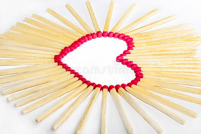 Heart valentines day. Heart of matches Valentine's Day royalty free stock photo
