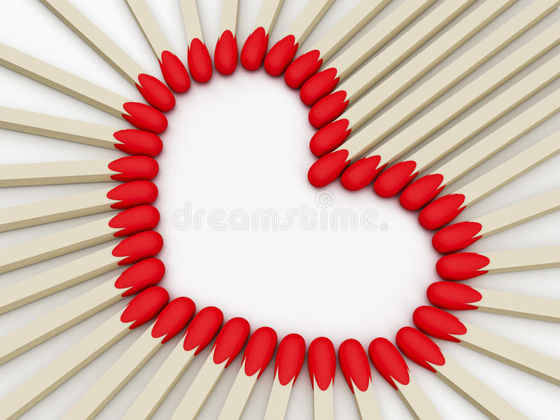 Heart valentines day. Heart of matches Valentine's Day vector illustration