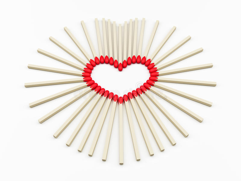 Heart valentines day. Heart of matches Valentine's Day royalty free illustration