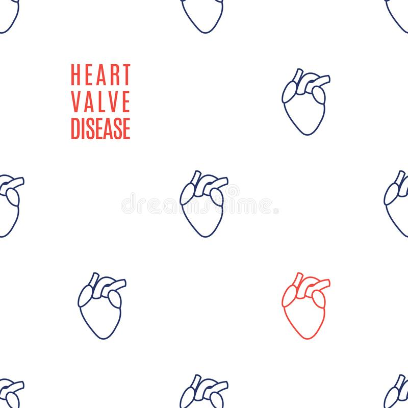 Heart valve disease awareness icon patterned poster royalty free illustration