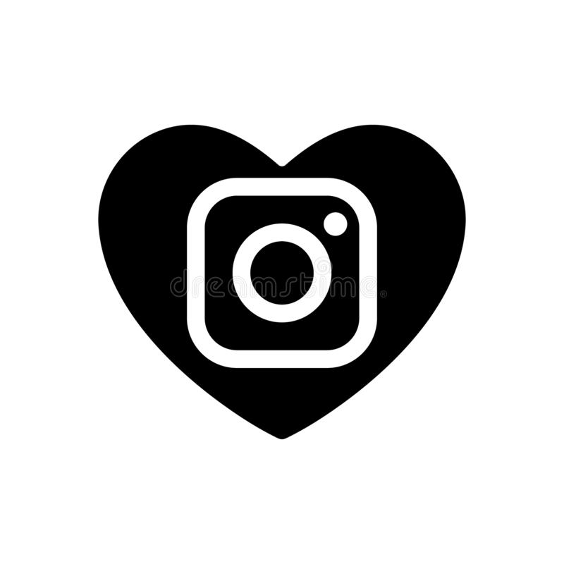 Heart vector black icon dedicated to social Instagram network. Media sign isolated camera lens, love symbol. Valentines day flat stock illustration