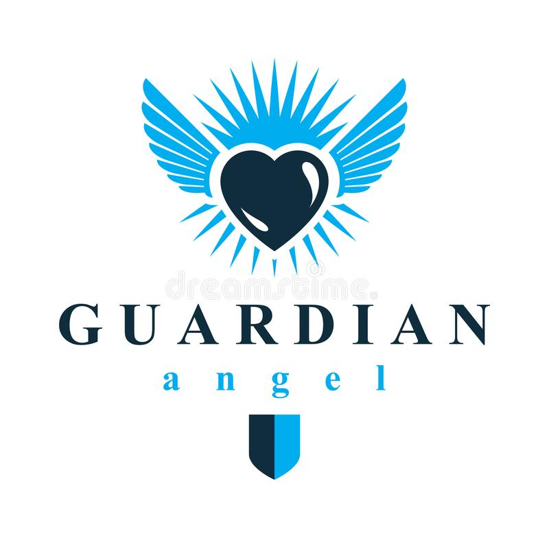 Heart vector graphic illustration, love and freedom metaphor symbol. Guardian angel vector abstract emblem. Heart vector graphic illustration, love and freedom royalty free illustration