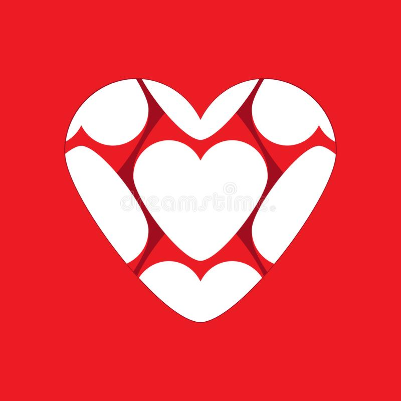 Heart vector icon composed of small hearts isolated. Love concept. Big heart vector icon composed of small hearts isolated on red background. Love concept royalty free illustration