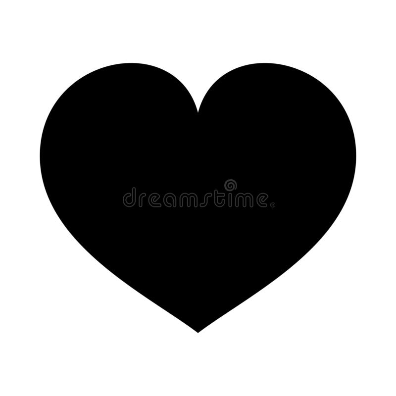 Heart vector icon. Love symbol. Valentine s Day sign. Love icon isolated on white background. Black heart emblem in flat style for stock illustration