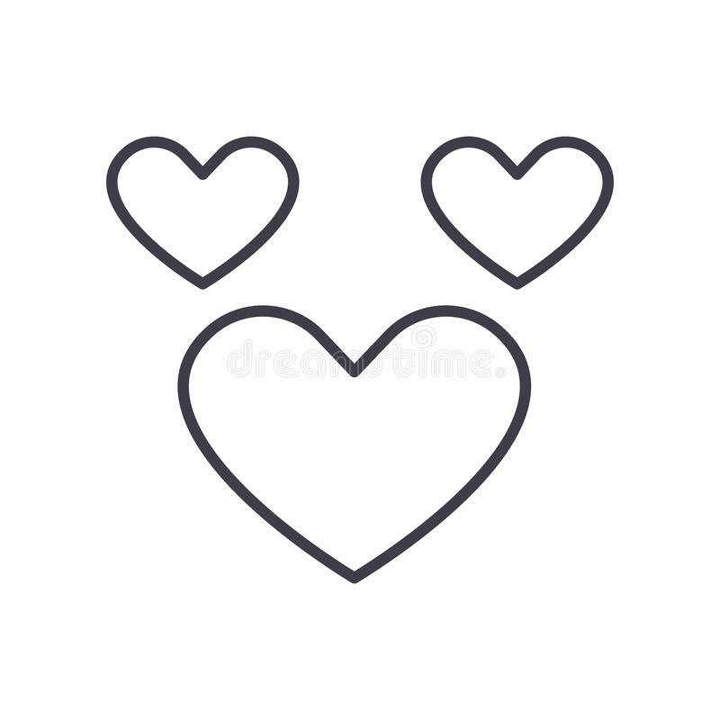 Heart vector line icon, sign, illustration on background, editable strokes royalty free illustration