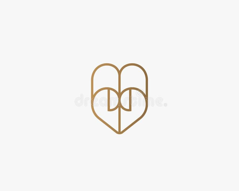 Heart vector symbol. Valentines day paper logotype. Abstract line document logo icon design. stock illustration