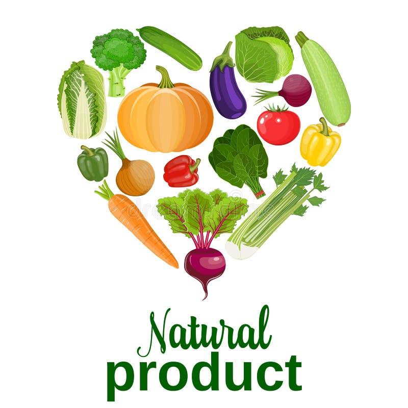 Heart of vegetables. Healthy food. Heart of vegetables. Fresh organic food, healthy eating. vector illustration in flat style. vegetables for farm market stock illustration