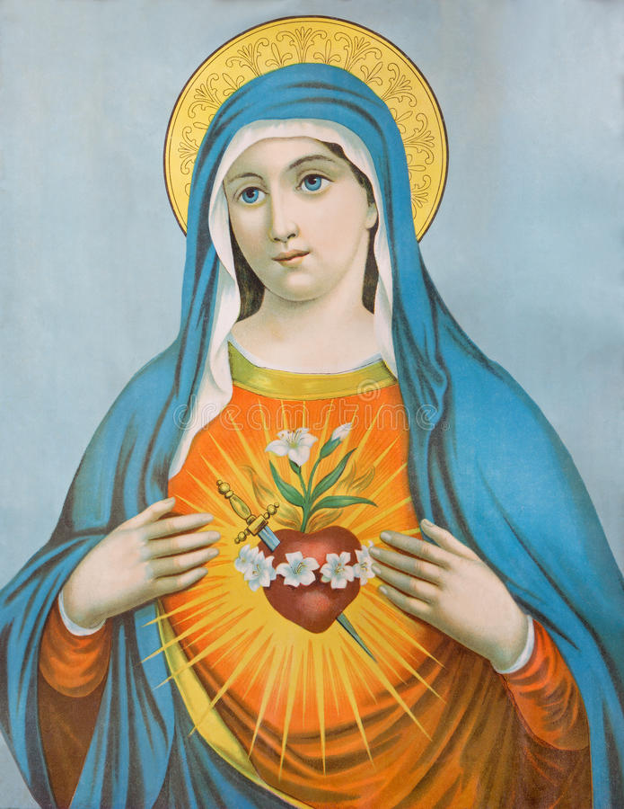 The Heart of Virgin Mary. Typical catholic image (in my own home) printed in Germany from the end of 19. cent. SEBECHLEBY, SLOVAKIA - JANUARY 3, 2015: The Heart stock image