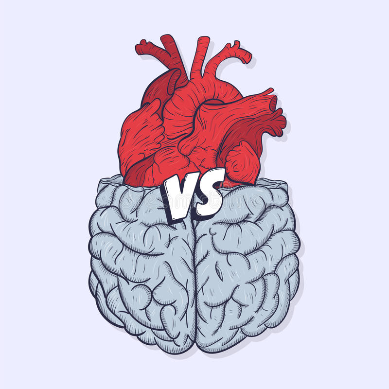 Heart vs brain. Concept of mind against love fight, difficult choice. Hand drawn vector illustration. vector illustration