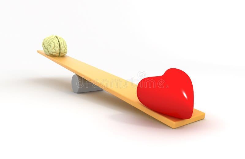 Heart vs Mind. 3D concept vector illustration