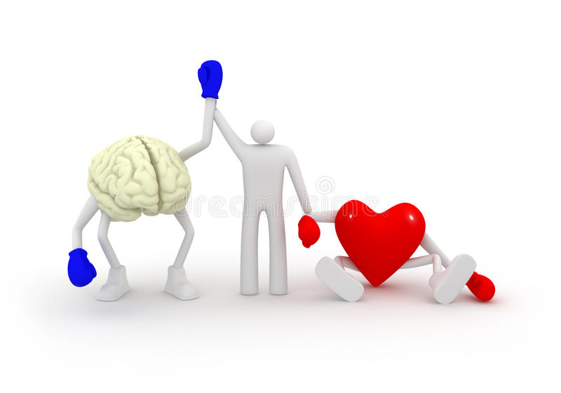 Heart vs Mind. Mind win fight with heart royalty free illustration