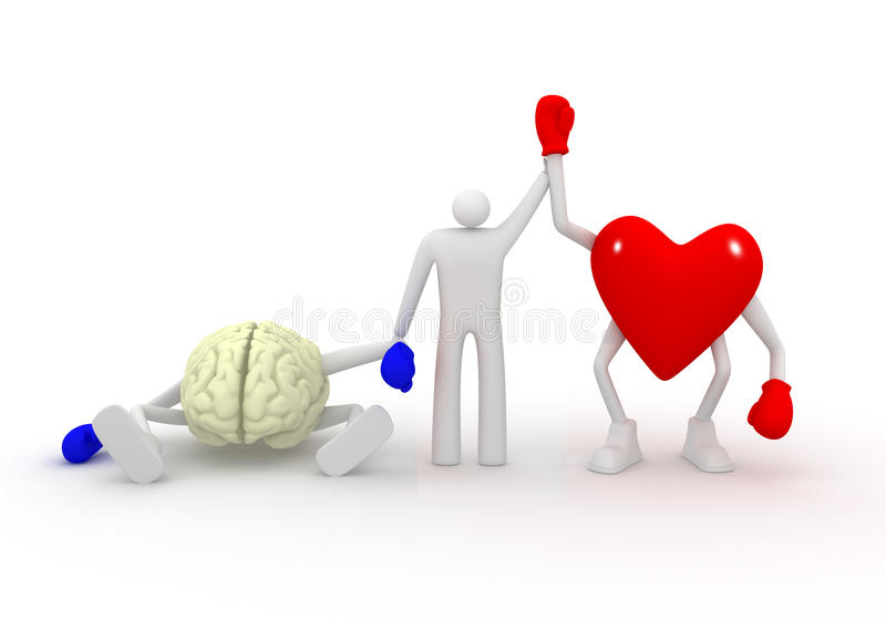 Heart vs Mind. Heart win fight with mind vector illustration