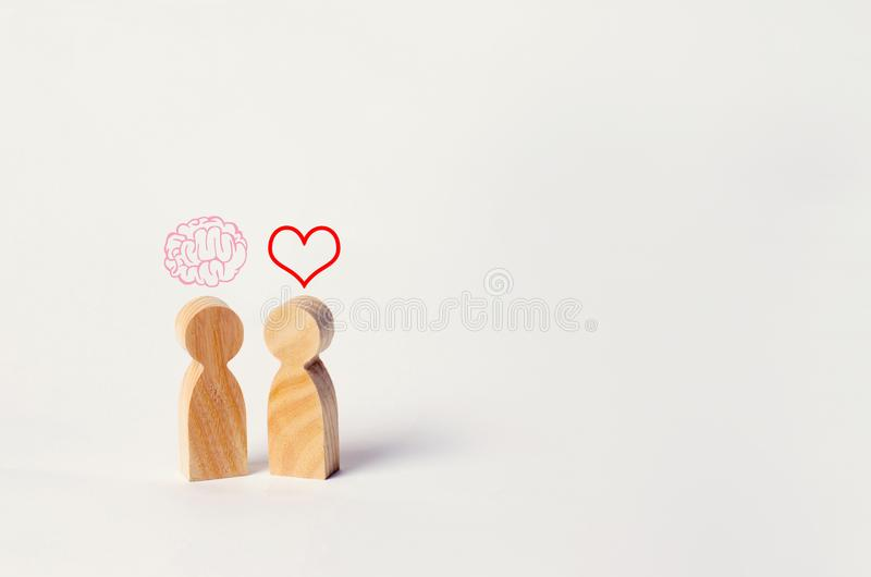 Heart vs Mind or brain. Concept of mind against love. Balance be. Tween irrational love and reason. Family psychology. Problems in relations royalty free stock photos