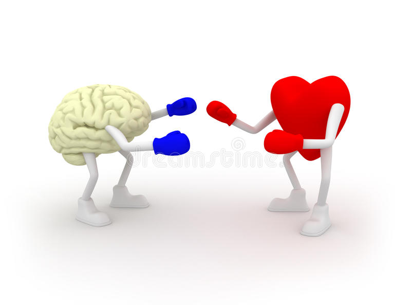 Heart vs Mind. Fighting. vector illustration