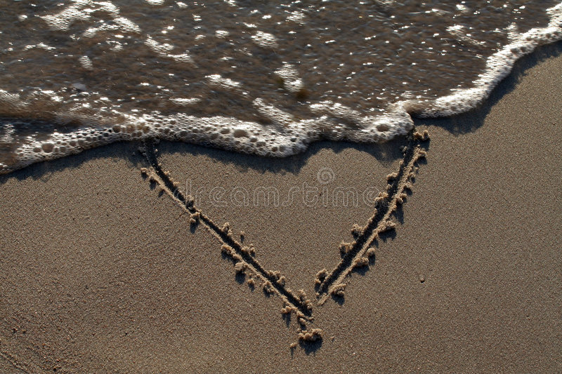 Heart washed by sea water royalty free stock photos