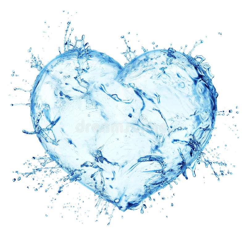 Heart from water splash stock photography