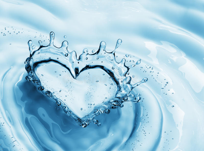 Heart from water splash with bubbles on blue water background royalty free illustration