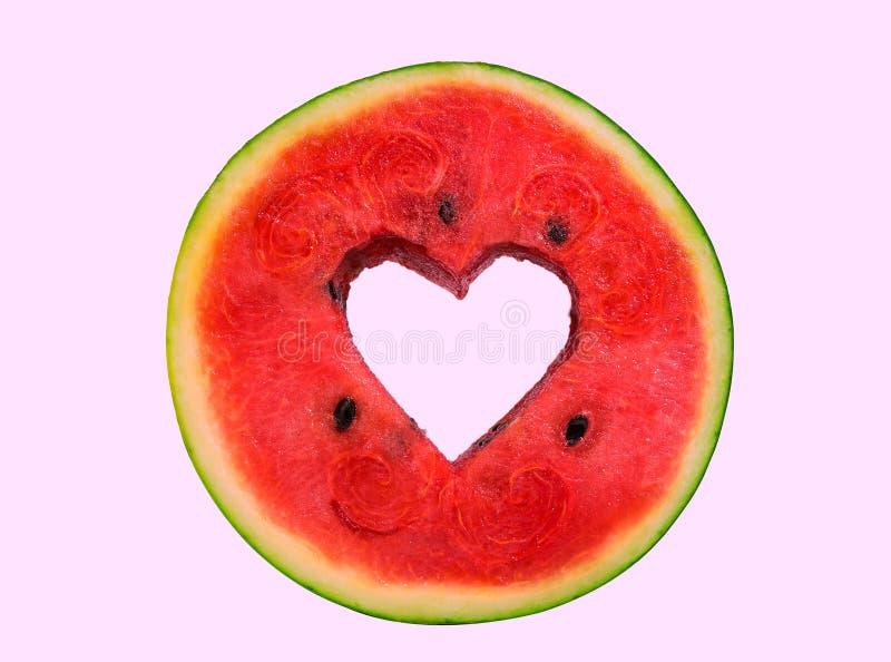 Heart on watermelon royalty free stock photos