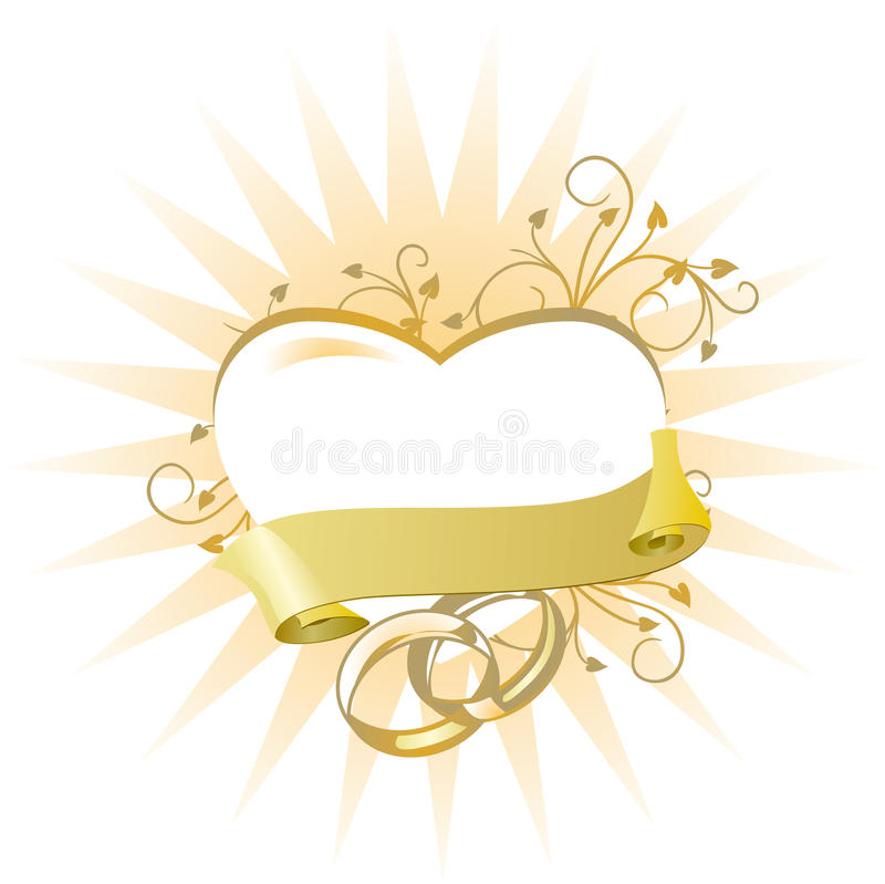 Heart with wedding rings royalty free illustration