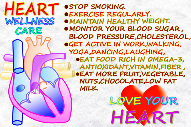 Heart wellness care related words in snow white background. For heart care related work royalty free illustration