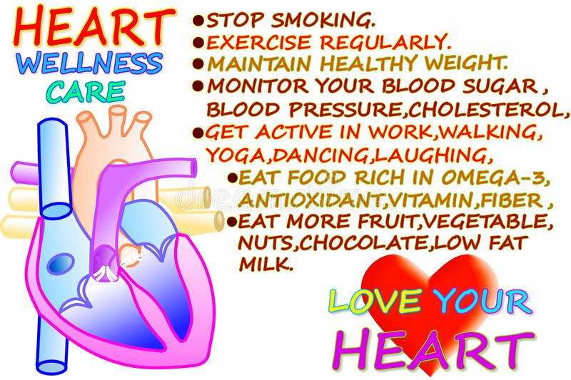 Heart wellness care related words in white background. For heart care related work stock illustration