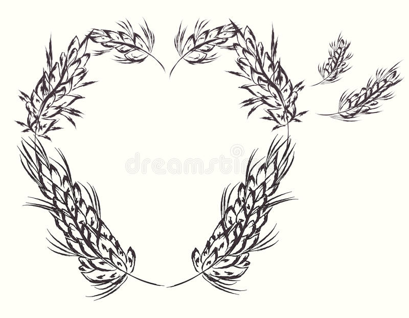 Download Heart with wheat stock vector. Illustration of decoration - 19535442