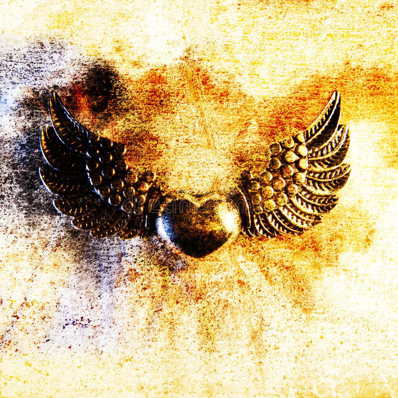 'Heart and Wings' Metal Motif, Close-up royalty free stock photo